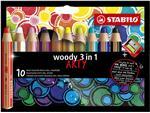 Kleurpotloden STABILO Woody 880/10-1-20 etui à 10 kleuren met puntenslijper