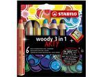 Kleurpotloden STABILO Woody 8806-1-20 etui à 6 kleuren met puntenslijper