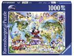 Puzzel Ravensburger Disneys Wereldkaart 1000 stukjes