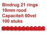 Bindrug Fellowes 10mm 21rings A4 rood 100stuks