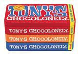 Chocolade Tony's Chocolonely reep 180gr in blik puur-melk en karamel zeezout