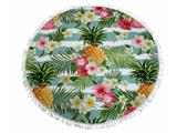 Strandlaken rond polyester ananas met franjes doorsnee 150cm