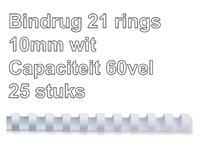 Bindrug Fellowes 10mm 21rings A4 wit 25stuks