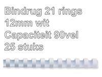 Bindrug Fellowes 12mm 21rings A4 wit 25stuks