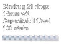 Bindrug Fellowes 14mm 21rings A4 wit 100stuks