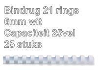 Bindrug Fellowes 6mm 21rings A4 wit 25stuks