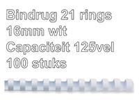 Bindrug GBC 16mm 21rings A4 wit 100stuks