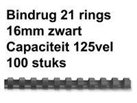 Bindrug GBC 16mm 21rings A4 zwart 100stuks