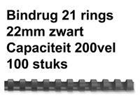 Bindrug GBC 22mm 21rings A4 zwart 100stuks