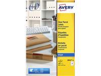 Etiket Avery J8565-25 99.1x67.7mm transparant 200stuks
