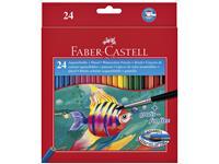 Kleurpotloden Faber Castell aquarel incl penseel set à 24 stuks assorti
