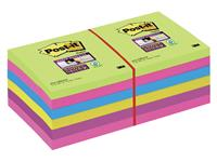 Memoblok 3M Post-it 654 Super Sticky 76x76mm rainbow 90 vel