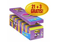 Memoblok 3M Post-it 654 Super Sticky 76x76mm 21+3 gratis assorti