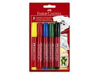 Viltstift Faber Castell textiel blister à 5 stuks assorti