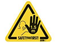 Waarschuwingssticker Houd afstand hand geel-zwart