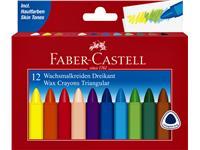 Waskrijt Faber Castell driehoekig set à 12 stuks assorti