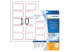 Naambadge etiket Herma 4405 80X50mm wit rood