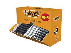 Balpen Bic Atlantis classic 0.32mm zwart doos à 30+6 gratis