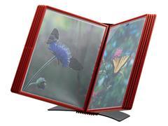Bureaustandaard Flex-O-Frame met 10-tassen rood