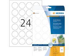 Etiket Herma 5066 rond 40mm verwijderbaar wit 600stuks