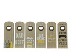 Flessenopener hout met leuke quotes 6 assorti