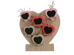 Hart hout met 36 hartjes assorti