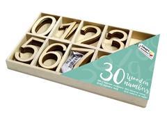 Houten nummers Craft Sensations 0 t/m 9 33x20mm doos à 30 stuks
