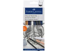 Houtskool Faber Castell set 7-delig