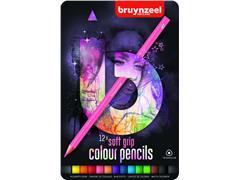 Kleurpotloden Bruynzeel Teens Soft 12stuks roze blik assorti