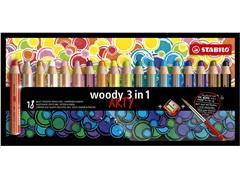 Kleurpotloden STABILO Woody 880/18-1-20 etui à 18 kleuren met puntenslijper en penseel