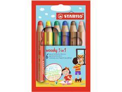 Kleurpotloden STABILO Woody 880/6 etui à 6 kleuren