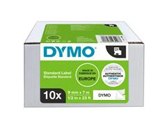 Labeltape Dymo 41913 D1 9mmx7m zwart op wit 10rol