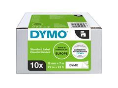 Labeltape Dymo 45013 D1 12mmx7m zwart op wit 10rol