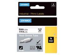 Labeltape Dymo Rhino 18051 krimpkous 6mmx1.5m zwart op wit