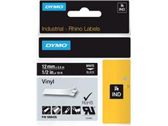 Labeltape Dymo Rhino 18054 vinyl 12mmx5.5m wit op zwart