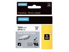 Labeltape Dymo Rhino 18057 krimpkous 19mmx1.5m zwart op wit