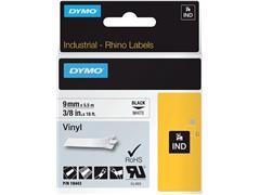 Labeltape Dymo Rhino 18443 vinyl 9mmx5.5m zwart op wit