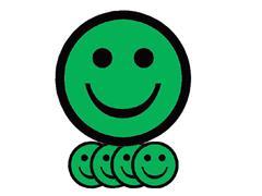 Magneet smiley 75mm emotie blij groen