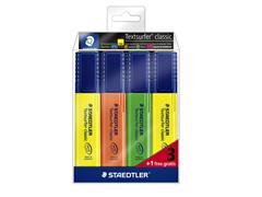 Markeerstift Staedtler 364 Textsurfer set à 3 stuks assorti + 1 geel gratis