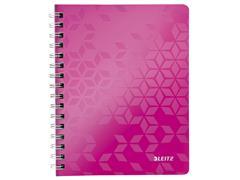Notitieboek Leitz WOW A5 spiraal PP lijn roze