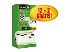 Plakband Scotch Magic 810 19mmx33m onzichtbaar mat 12+2 gratis
