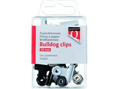 Papierklem bulldog Quantore blister 20mm assorti