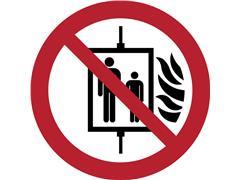 Pictogram Tarifold in geval van brand verboden om de lift te gebruiken ø200mm
