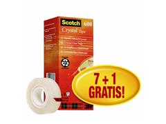 Plakband Scotch Crystal 600 19mmx33m transparant 7+1 gratis