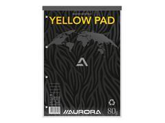 Schrijfblok Aurora A4 lijn 80vel 80gr 4-gaats geel