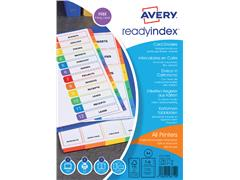 Tabbladen Avery Readyindex 9-gaats 6-delig 1-6 assorti