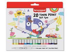 Viltstift Bruynzeel Kids Twin Points blister à 20 stuks assorti