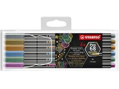 Viltstift STABILO 6806/8-11-01 metallic etui à 6 kleuren