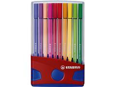 Viltstift STABILO Pen 68 ColorParade rood/blauw etui à 20 kleuren