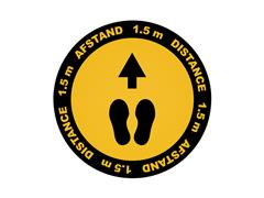 Vloersticker Metafas looprichting twee-talig Ø20cm geel